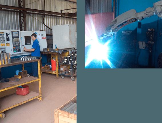 Linha de produção com tornos CNC e robô de solda, respectivamente